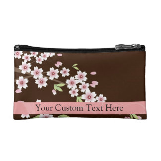Personalized Pink/Brown Dogwood Blossom Makeup Bag