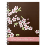 Personalized Pink/Brown Dogwood Blossom Notebook
