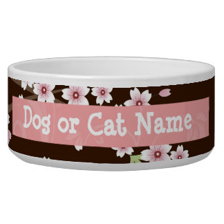 Personalized Pink/Brown Dogwood Blossom Dog Bowl