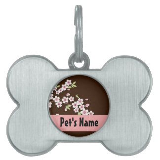 Personalized Pink/Brown Dogwood Blossom Pet Name Tag