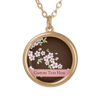 Personalized Pink/Brown Dogwood Blossom Round Pendant Necklace