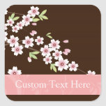 Personalized Pink/Brown Dogwood Blossom Square Sticker