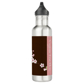 Personalized Pink/Brown Dogwood Blossom Stainless Steel Water Bottle