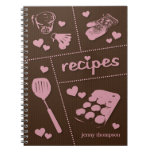 Personalized Pink & Brown Kitchenware Recipes Spiral Notebook