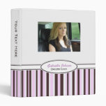 Personalized Pink & Brown Striped Binder