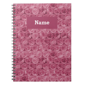 Personalized pink bubble wrap pattern spiral notebook