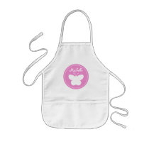 Personalized pink butterfly baking apron for kids