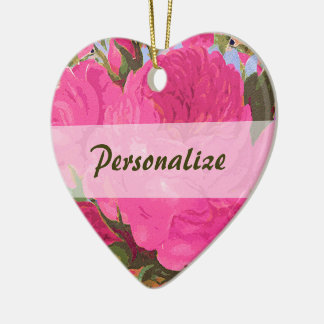 Personalized Pink Cabbage Roses Ornament