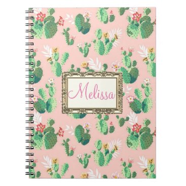 galxc_designs Personalized Pink Cactus Blooms Notebook