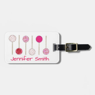 Personalized Pink Cake Pop Pops Luggage Tag