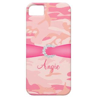 Personalized Pink Camo Diamond Ribbon iPhone Case