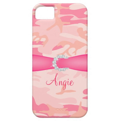 Personalized Pink Camo Diamond Ribbon iPhone Case iPhone 5 Covers