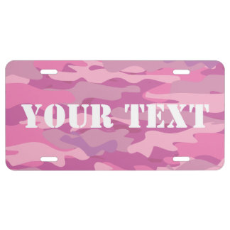 Personalized pink camouflage color license plate