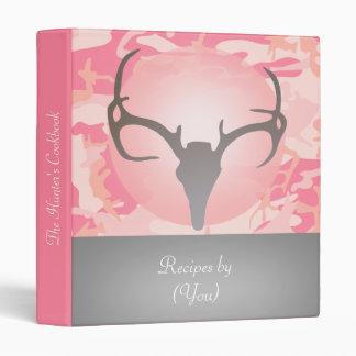 Personalized Pink Camouflage Deer Skull Cookbook Binder