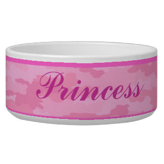 Personalized Pink Camouflage Pet Bowl