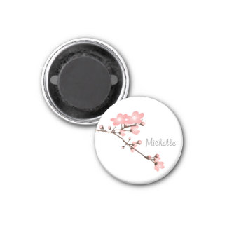 """Personalized Pink Cherry Blossom 2 """" Square Magnet"""