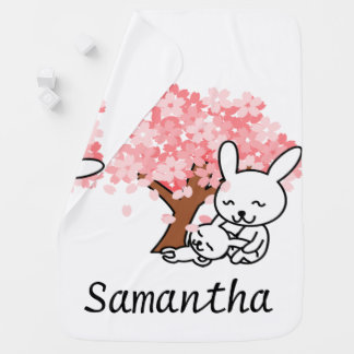 Personalized Pink Cherry Blossom Bunny Swaddle Blanket