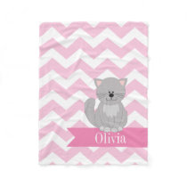 Personalized Pink Chevron Cat Fleece Blanket