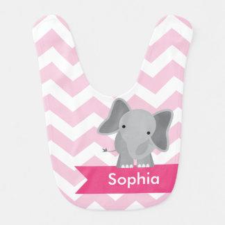 Personalized Pink Chevron Elephant Bib