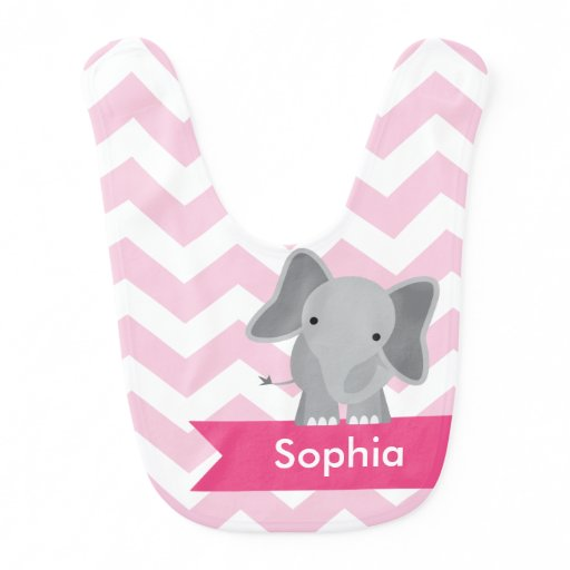Personalized Pink Chevron Elephant Bib