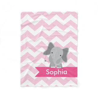 Personalized Pink Chevron Elephant Fleece Blanket