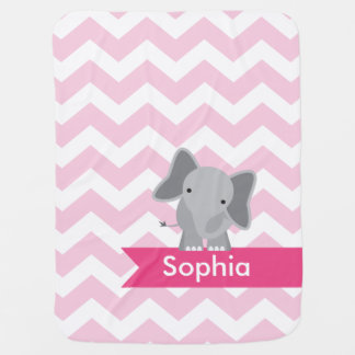 Personalized Pink Chevron Elephant Receiving Blanket