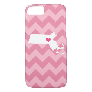 Personalized Pink Chevron Massachusetts Heart iPhone 7 Case