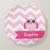 Personalized Pink Chevron Owl Round Pillow