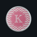 """Personalized Pink Chevron Zigzag Monogram Speaker<br><div class=""""desc"""">This speaker features a pink chevron zigzag pattern and a accent pink frame for your custom monogram initial or other text.  Makes a great gift for all occasions.  Click the &quot;Customize It!&quot; button to add text and more!</div>"""