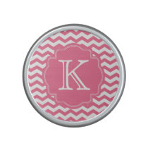 Personalized Pink Chevron Zigzag Monogram Speaker