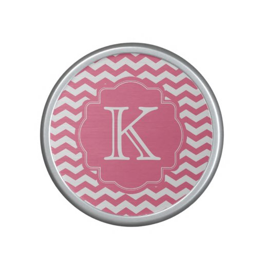 Personalized Pink Chevron Zigzag Monogram Speaker