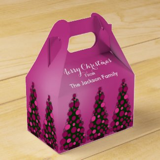 Personalized Pink Christmas Tree Favor Box