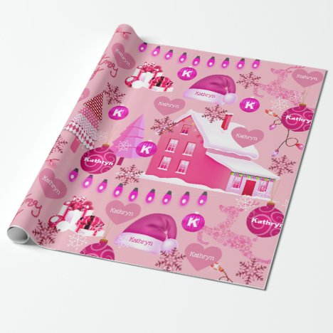 Personalized Pink Christmas Wrapping Paper