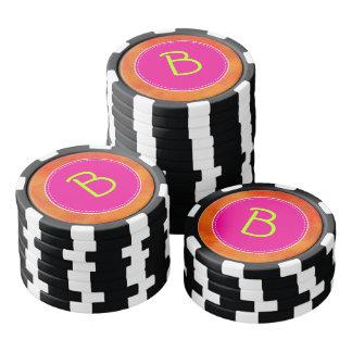 Personalized Pink Circle Orange Background Poker Chip Set