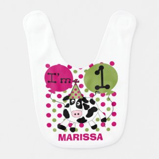 Personalized Pink Cow 1st Birthday Bib