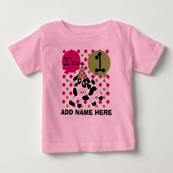 Personalized Pink Cow 1st Birthday Tshirt