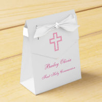 Personalized Pink Cross Tent Favor Boxes