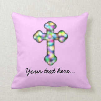 Personalized Pink Cross Throw Pillow