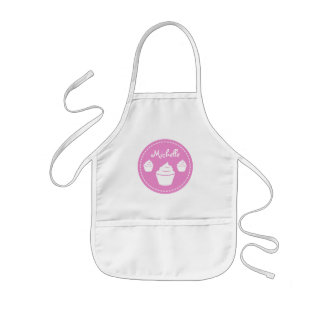Personalized pink cup cake baking apron for kids