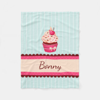Personalized Pink Cupcake Mint Blue Background Fleece Blanket