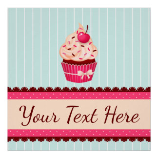Personalized Pink Cupcake Mint Blue Background Poster