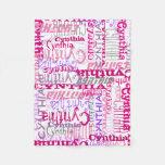 Personalized Pink Custom Name Collage Girl's Fleece Blanket