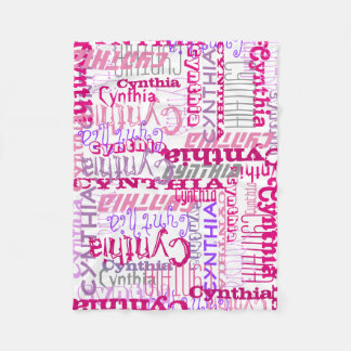 Personalized Pink Custom Name Collage Girl's Fleece Blanket