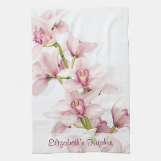 Personalized Pink Cymbidium Orchid Kitchen Towel