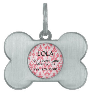 Personalized Pink Damask Bone Dog Tag