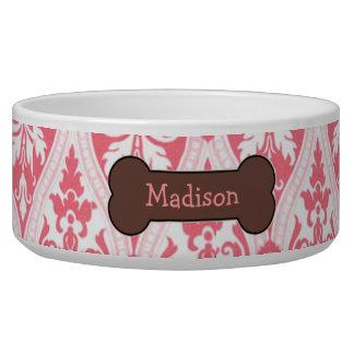Personalized Pink Damask Dog Food Bowl