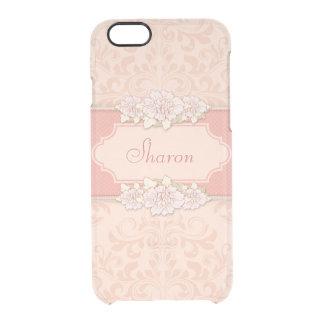 Personalized Pink Damask Floral Uncommon Clearly™ Deflector iPhone 6 Case