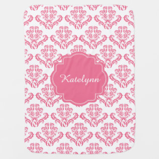Personalized Pink Damask Pattern Baby Blanket