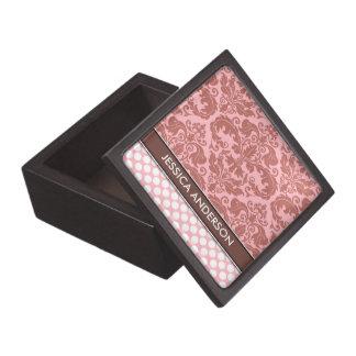 Personalized Pink Damask Polka Dots Jewelry Box Premium Trinket Boxes