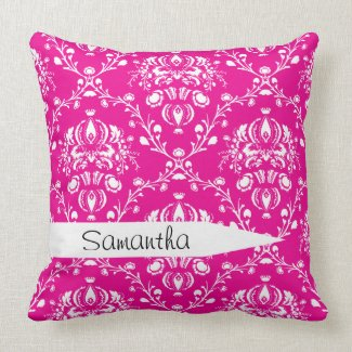 Personalized Pink Damask Throw Pillow